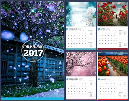 دانلود تقویم سال 2017 میلادی با پس زمینه گل Wallpaper Calendar 2017