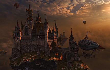 دانلود اسکرین سیور زیبای قلعه ای در آسمان